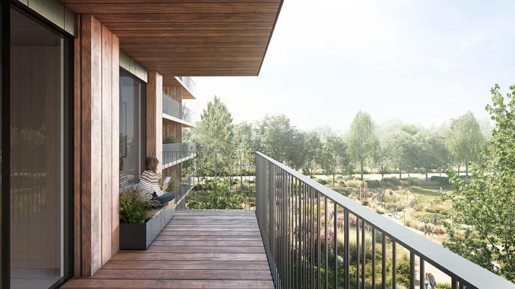 """Der Holzwohnbau """"Valckensteyn"""" soll naturverbundenes Wohnen für Familien erschwinglich machen. (Bild: Powerhouse Company)"""