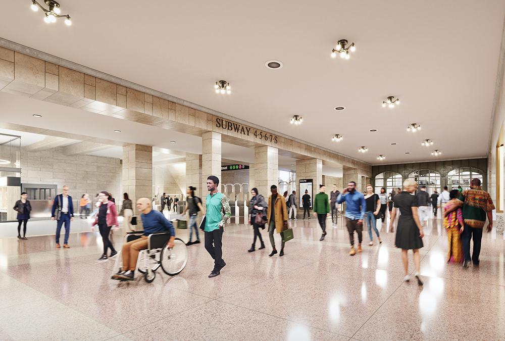 """Top-Ersatz für Trumps """"Grand Hyatt"""". Die neue, helle 42nd Street Passage soll bisher täglichem Gedränge ein Ende machen. (Bild: EKOO Media Inc. / SOM)"""