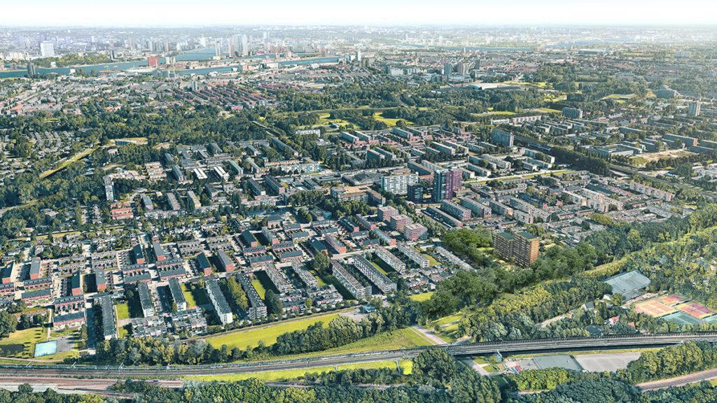 Die Architektur des neuen Holzwohnbaus fügt sich dezent in die Umgebung des Stadtviertels ein. (Bild: Powerhouse Company)