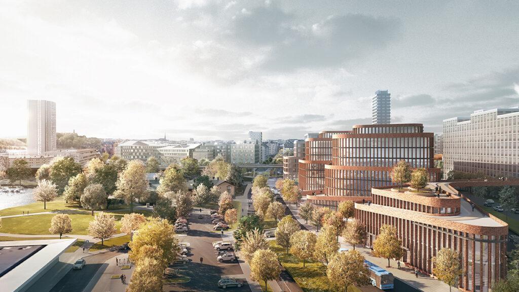 """Großzügigkeit im besten Sinn: Der Komplex """"Kvarter 15"""" in Stockholm wird flexible Büroräume bieten und zugleich das ganze Stadtviertel beleben. (Bild: 3XN)"""