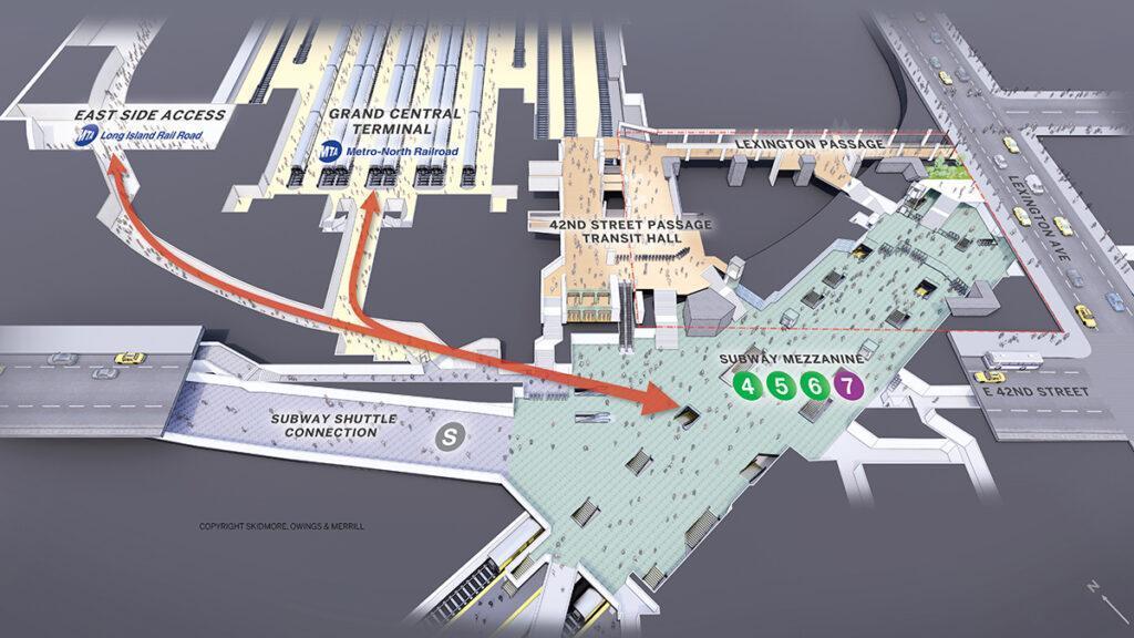 """Durch den Abriss des """"Grand Hyatt"""" können kurze, bequeme Wege zwischen den Verkehrsmitteln geschaffen werden. (Bild: SOM)"""