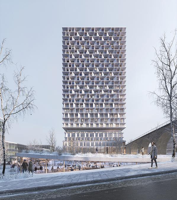 """Mixed-Use-Hochhaus aus Holz: Das 3XN-Projekt """"Tilia Tower"""" in Lausanne. (Bild: 3XN/SBK/ White arkitekter)"""
