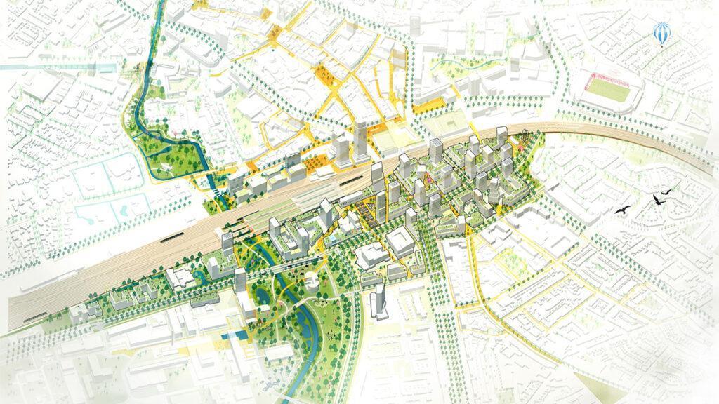 """Das Entwicklungskonzept """"Fellenoord / Internationale Knoop XL"""" soll ein zukunftsfittes, attraktives Stadtquartier schaffen. (Bild: KCAP)"""