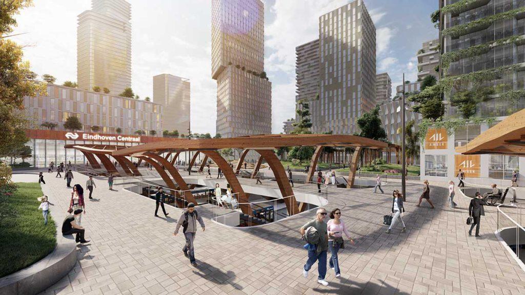 Die neue Busstation in Eindhovens Stadtteil Fellenoord schafft Raum für eine öffentliche Plaza. (Bild: KCAP)