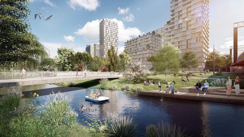 """Neues """"Herzstück"""" für Eindhoven. Mehr Grün: Erholungszonen an den Ufern der Dommel (Bild: KCAP)"""
