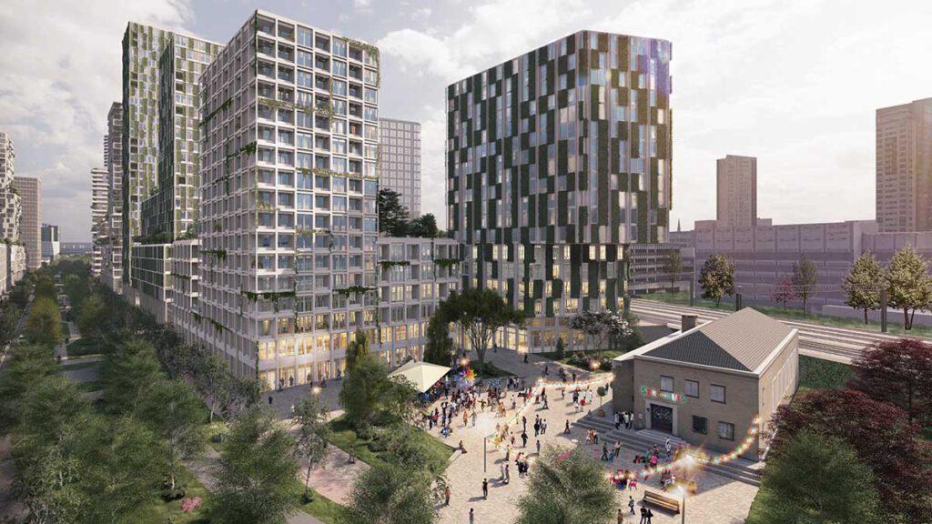 """Nachhaltig und mit viel öffentlichem Freiraum: Das Projekt """"Fellenoord / Internationale Knoop XL"""" in Eindhoven. (Bild: KCAP)"""
