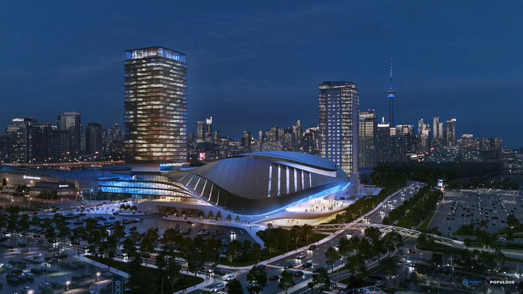 Der Komplex der E-Sport Arena in Toronto ist als vielseitiges Unterhaltungs- und Event-Zentrum konzipiert. (Bild: Populous)