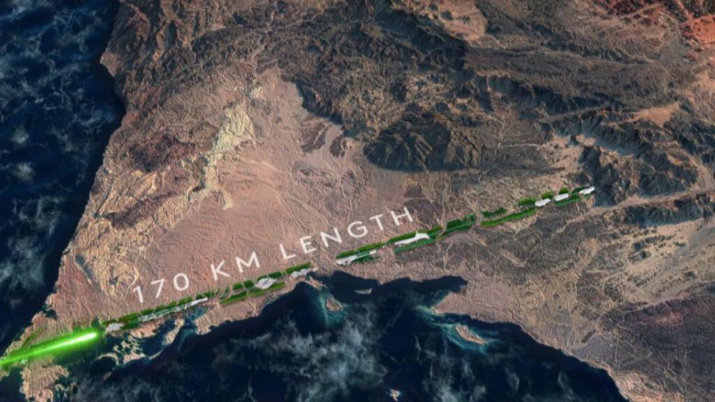The Line, ein Teil der futuristischen Stadt Neom