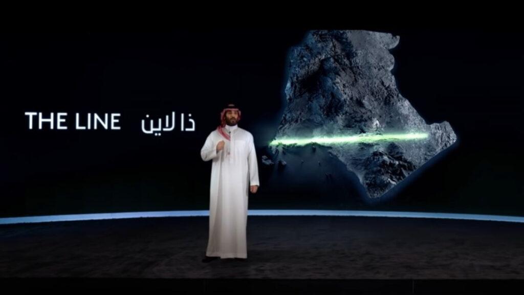 Mohammed bin Salman bei der Präsentation von The Line