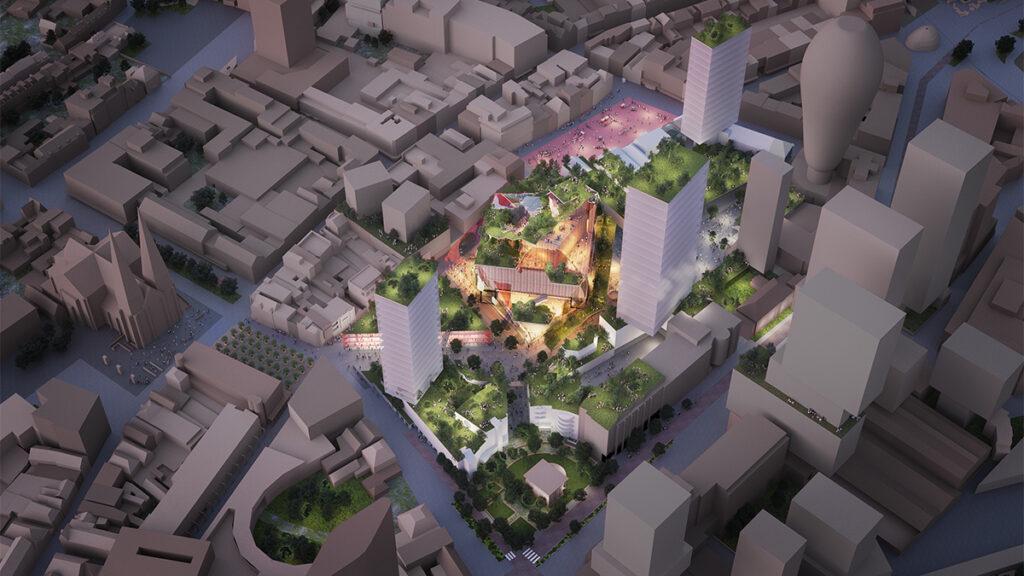 """Schöner shoppen in Eindhoven. Das """"Heuvel"""" soll zum modernen, attraktiven Treffpunkt in der City von Eindhoven werden. (Bild: MVRDV)"""