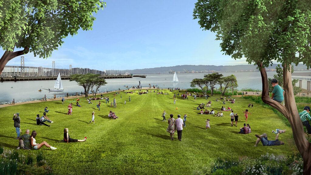 """Mission Rock """"rockt"""" San Francisco: Die """"Great Lawn"""" im neuen Viertel. (Bild: SCAPE)"""