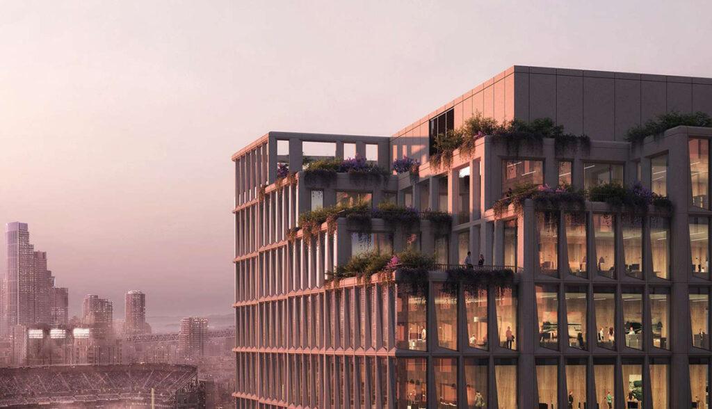 """Mission Rock """"rockt"""" San Francisco. Henning Larsens """"Gebäude G"""" hat ein Naturdenkmal als Vorbild. (Bild: Henning Larsen)"""