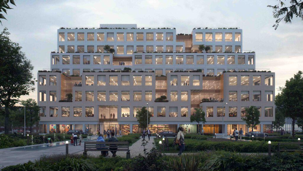 """""""Work-Life-Balance"""" á la Mission Rock: Das von WORKac designte Gebäude B. (Bild: WORKac / Tishman Speyer)"""