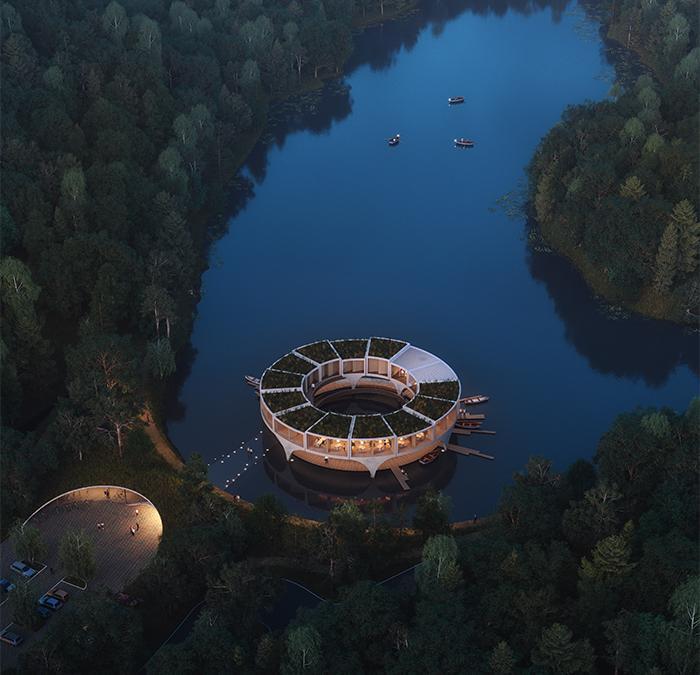 """Freizeitparadies mitten im See: Smartvolls Projekt """"Land in Sicht"""" zeigt zukunftsorientierte See-Architektur. (Bild: smartvoll / Mathias Bank)"""