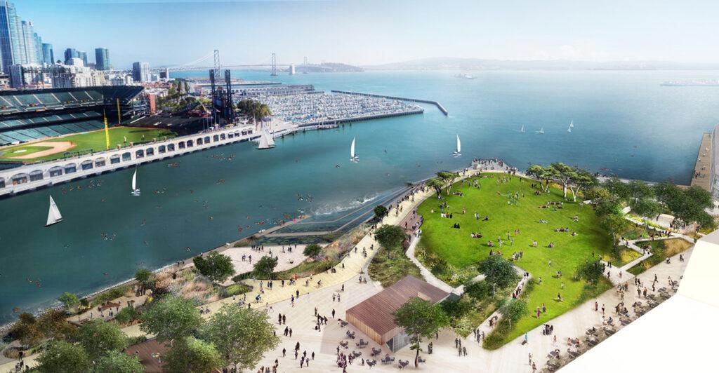 """Mission Rock """"rockt"""" San Francisco. Outdoor-Genuss pur: Der neue China Basin Park ist ein wichtiger Teil des Mission Rock Projekts. (Bild: SCAPE / Tishman Speyer)"""