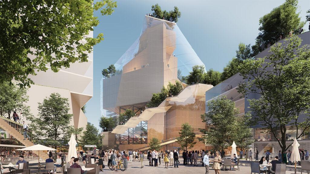 """Schöner shoppen in Eindhoven. Zukunft des """"Heuvel"""": Parkanlagen mit Fernblick auf den Dächern und ein markanter """"Berg"""" aus Glas. (Bild: MVRDV)"""