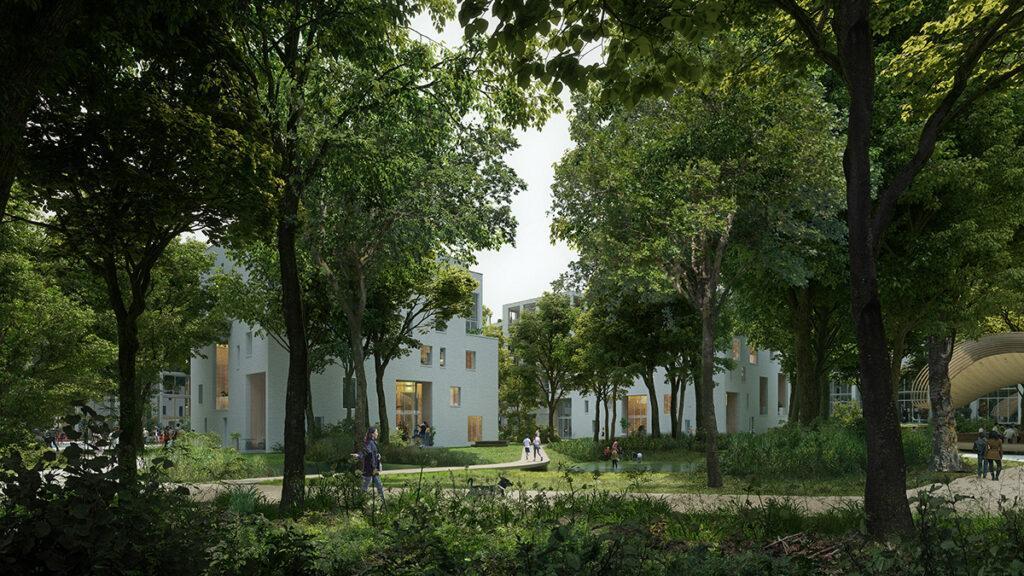 Wohnquartier mit eigenem Wald: Das Projekt HOLT des Büros Powerhouse Company. (Bild: Proloog)