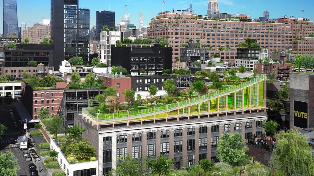 Ein Biotop über Manhattan. Viele grüne Dächer: So sollte Manhattan in Zukunft aussehen, hoffen die Visionäre. (Bild: 3deluxe)