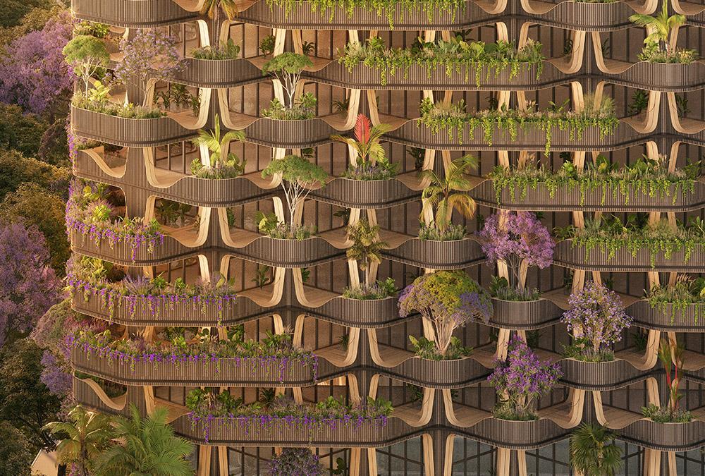 Blumen, Sträucher, Bäume: Der Wohnturm soll rundum üppig bepflanzt werden. (Bild: Vincent Callebaut Architecture)
