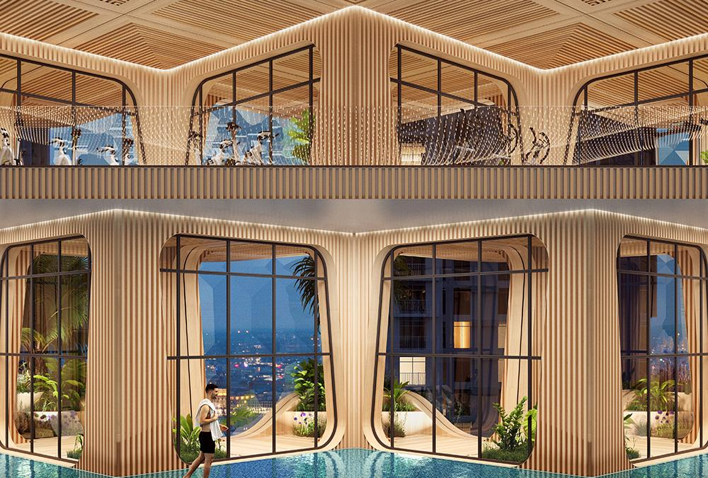 """Die weitläufige Pool-Landschaft des """"Rainbow Tree"""" Turms dient den Bewohnern als Erholungszone. (Bild: Vincent Callebaut Architecture)"""