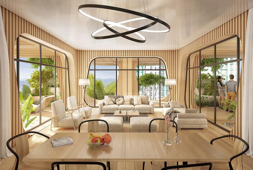 """Lebensqualität im """"Rainbow Tree"""": Flexible Wohnräume mit viel Tageslicht und großen, dicht begrünten Freiflächen. (Bild: Vincent Callebaut Architecture)"""