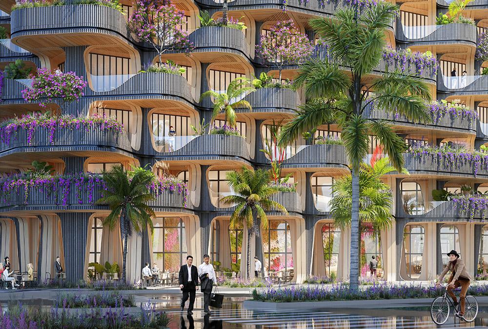 """Schönes Entree: Die einladende Lobby des """"Rainbow Tree"""" Turms. (Bild: Vincent Callebaut Architecture)"""