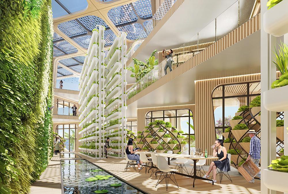 """Die Skyfarm des """"Rainbow Tree"""" kombiniert Fischzucht und Pflanzenanbau. (Bild: Vincent Callebaut Architecture)"""