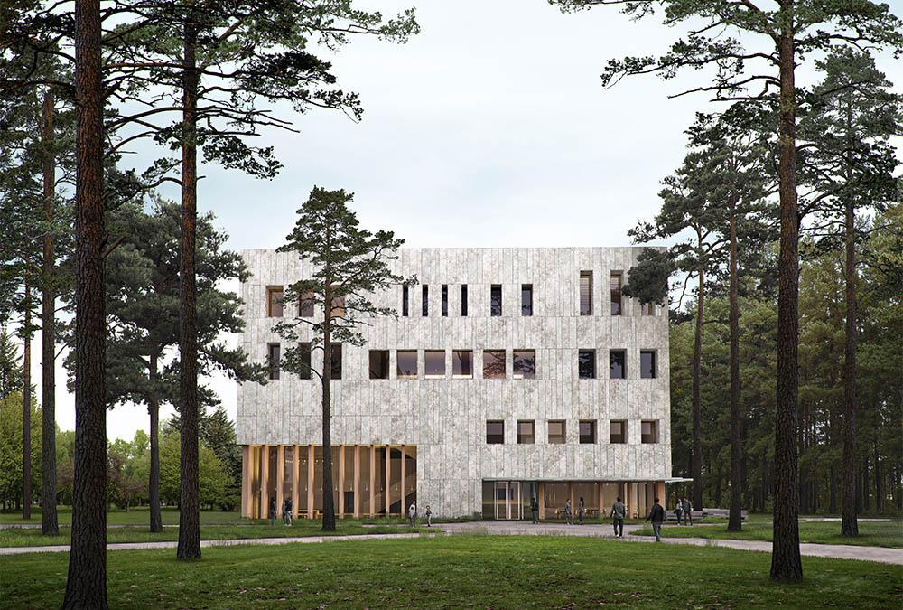 Klimawandel, mitgedacht: Komplett aus Holz: Das neue Universitätsgebäude für die niederländische Stadt Tilburg. (Bild: Powerhouse Company)