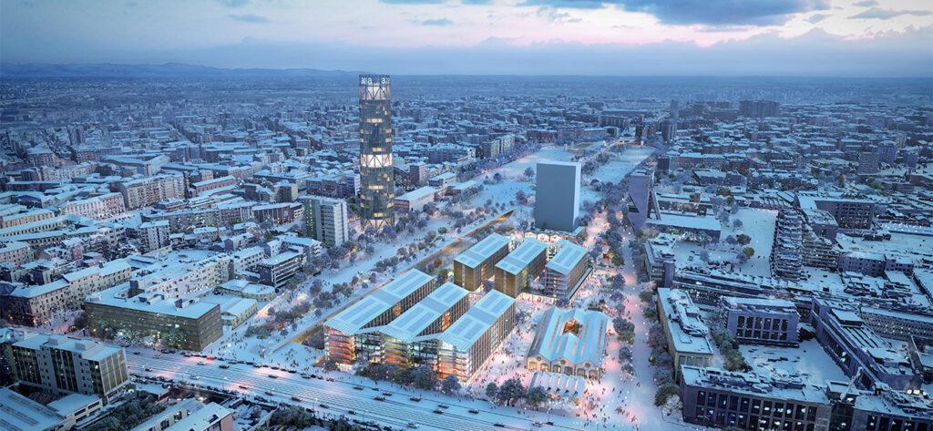 Winterliche Sportlerunterkunft und zugleich zukunftsorientierte Stadterneuerung: Das von SOM geplante Olympische Dorf in Mailand.   (Bild: SOM / Pixelflakes)
