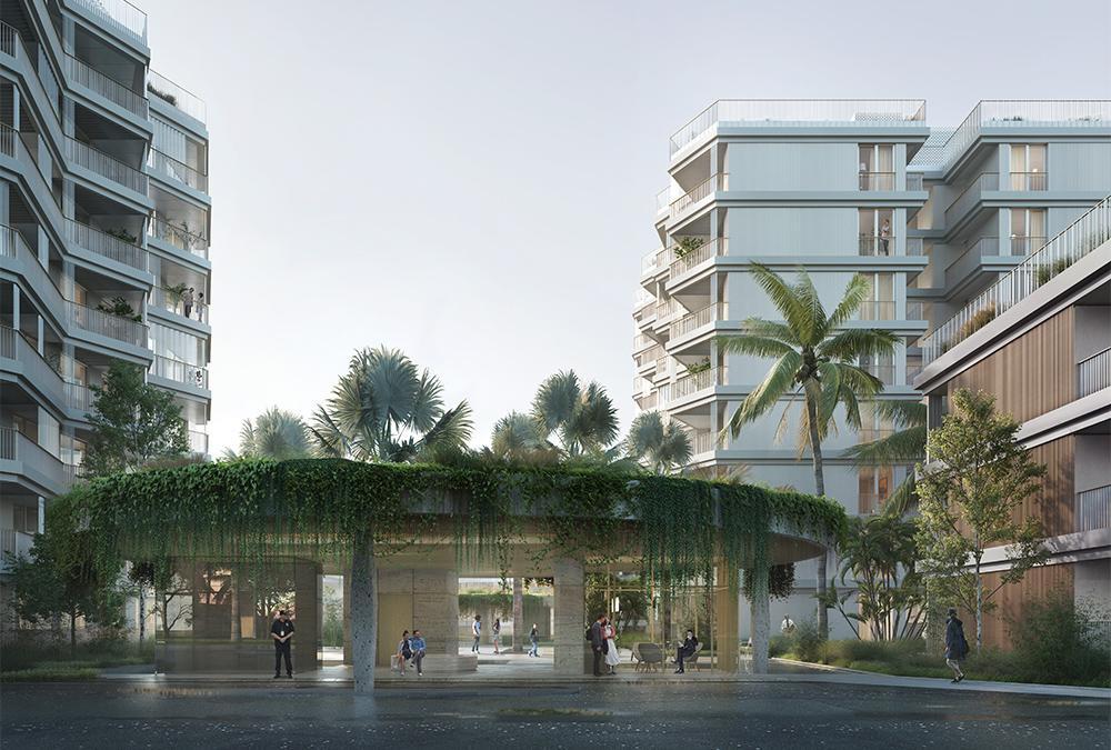 """""""Urban Village"""" Traum für Singapur. Das """"Tor"""" zum Wohntraum: Der Eingangspavillon des """"Reef at King's Dock"""". (Bild: Filippo Bolognese)"""