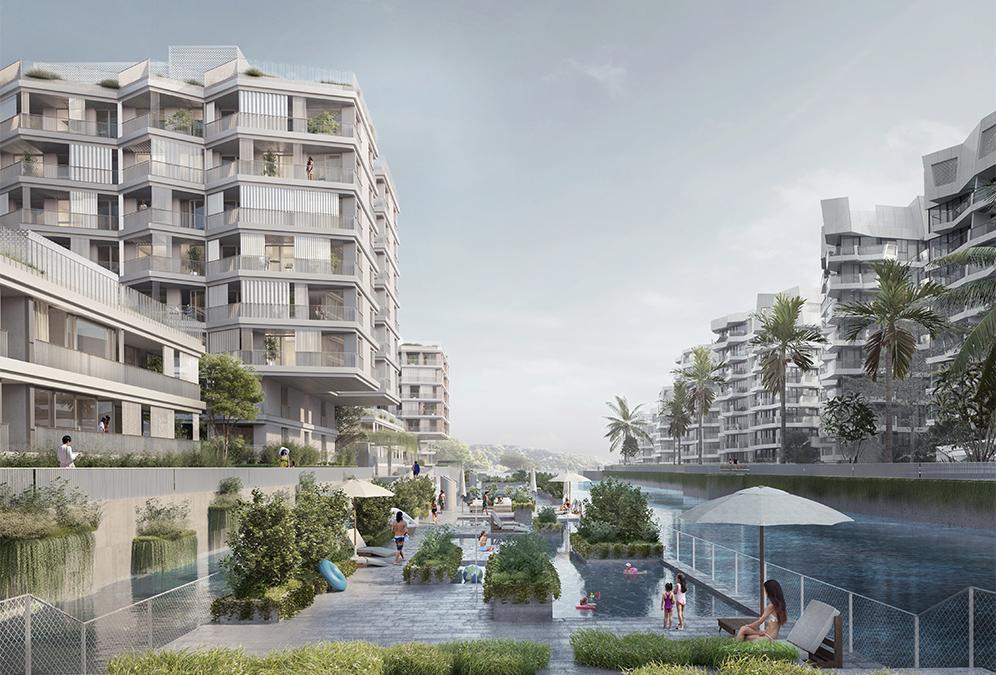 """Top-Lage, optimal genützt: Das neue """"Urban Village"""" schafft Stadtwohnungen mit Badestrand. (Bild: Filippo Bolognese)"""