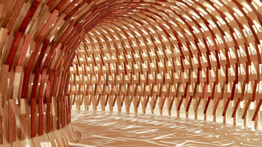 Inside, Botanical Pavilion, Kengo Kuma, Geoff Nees