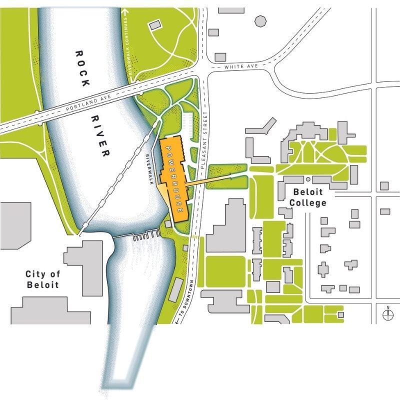 Lage des Zubau des Beloit College Powerhouse