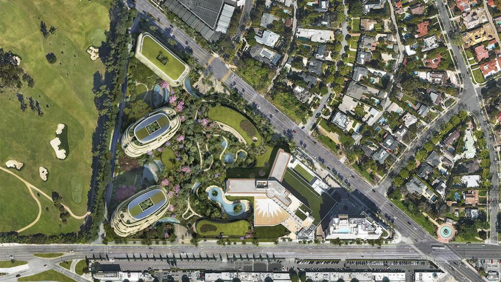 """Grünes Dreieck """"One Beverly Hills"""": Die Hälfte der Anlage wird öffentlich zugänglich sein. (Bild: DBOX / Foster + Partners)"""