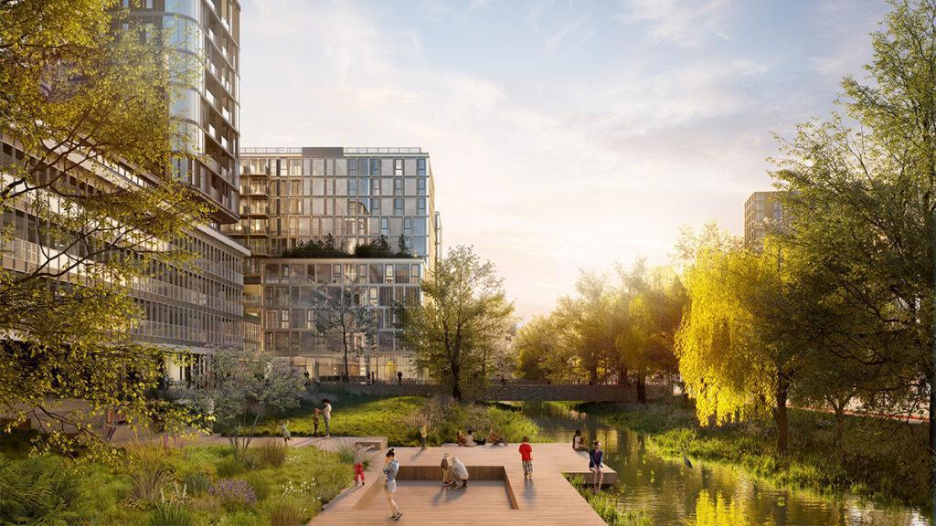 Der Plan von KCAP verspricht hohe Wohnqualität auf und rund um das Fashion House. (Bild: KCAP)