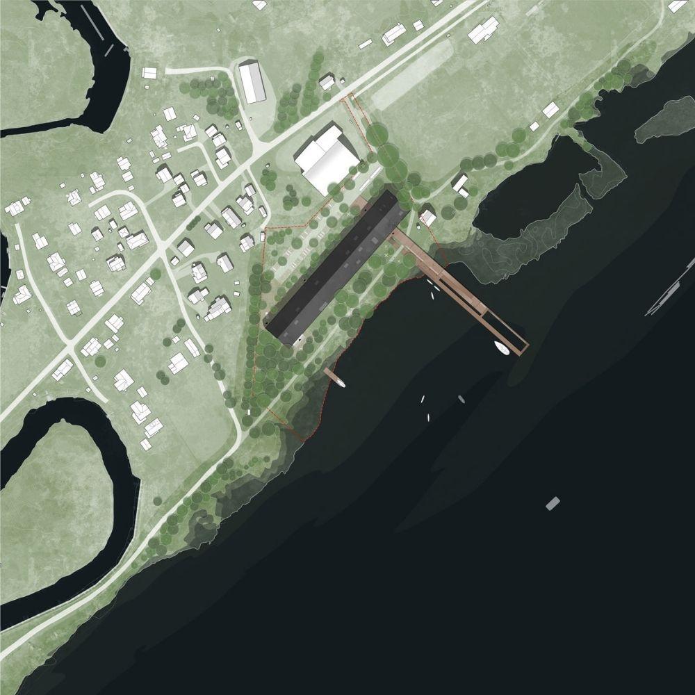 das von Karres en Brands entworfene Museum für Norwegens Feuchtgebiete von oben