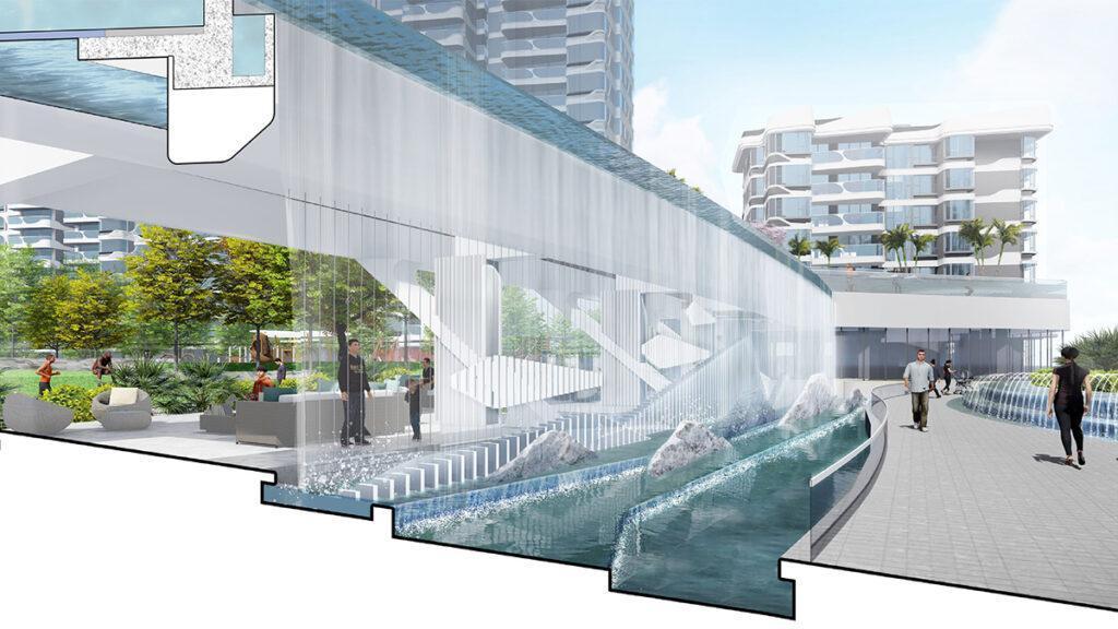 Schöne Aussichten: Rendering der Wasservorhang-Seite des riesigen Infinity Pools, der in der Wohnanlage in Zhuhai entsteht. (Bild: LWK + PARTNERS)