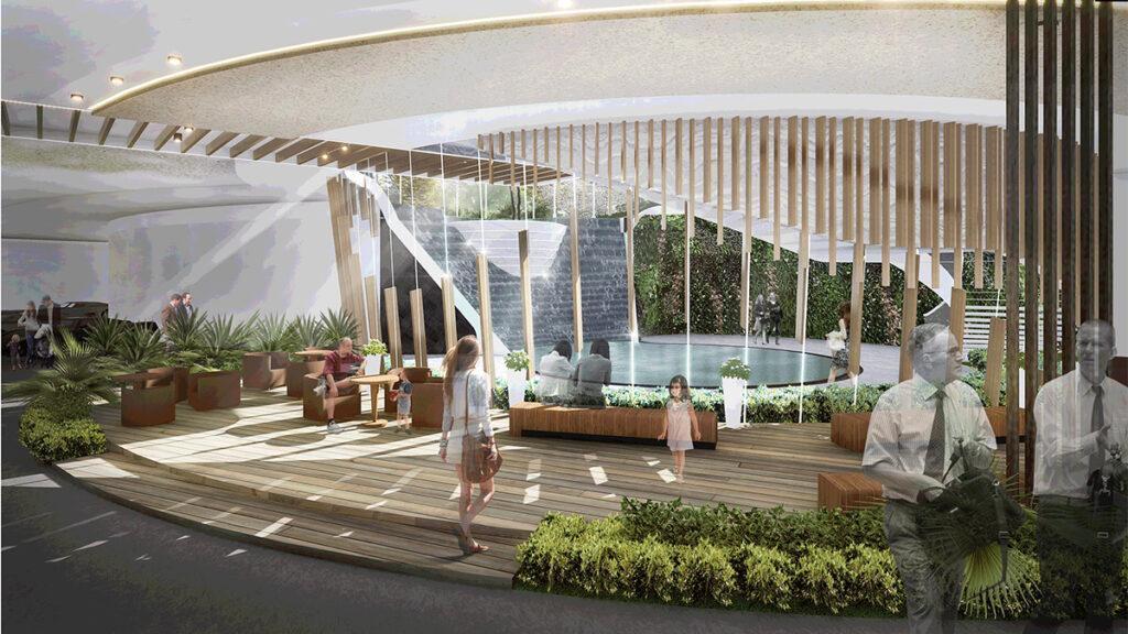 Viele Ruhezonen und Wasserspiele stehen den Bewohnern der Anlage in Zhuhai zur verfügung. (Bild: LWK + PARTNERS)