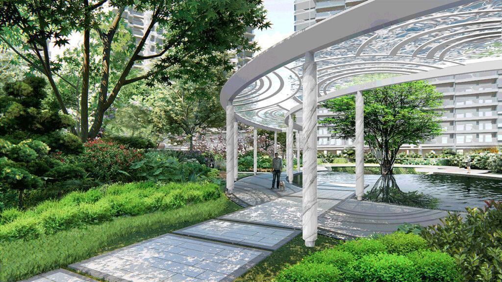 """Edle Wasserspiele und viel Grün sorgen für Lebensqualität in der Wohnanlage """"TianhengBayview"""" in Zhuhai. (Bild: LWK + PARTNERS)"""